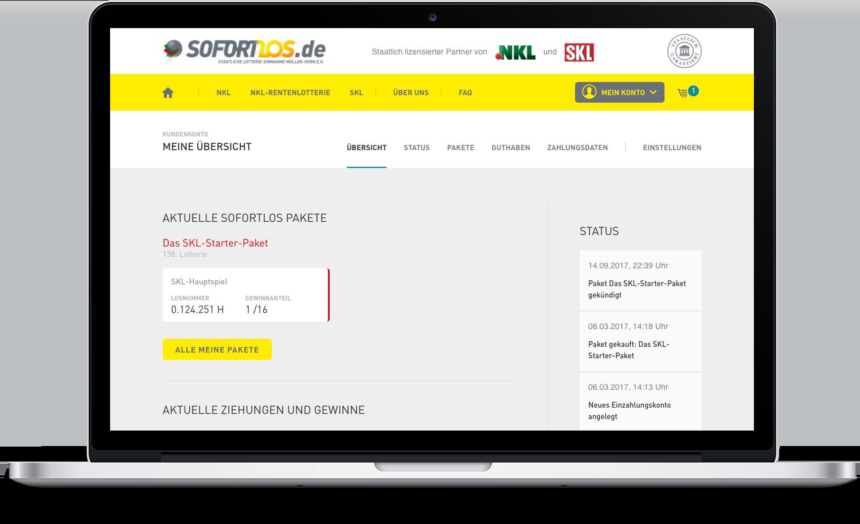 Aktuelle Sofortlospakete SKL auf Desktop Ansicht